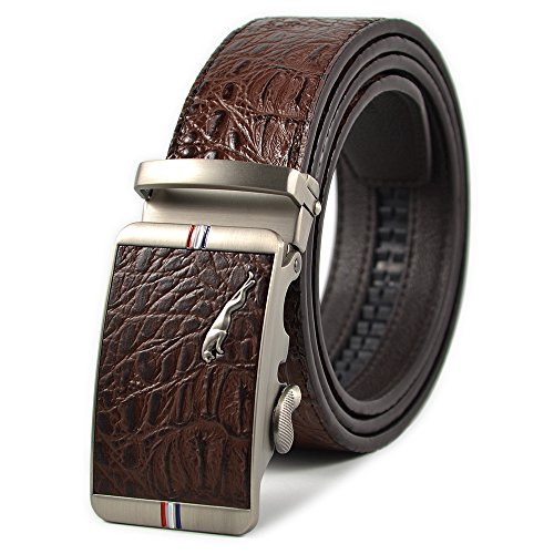 (Men's Business Ratchet Dress Belt Alligator Leather Belt with Automatic Buckle Belt Length 51