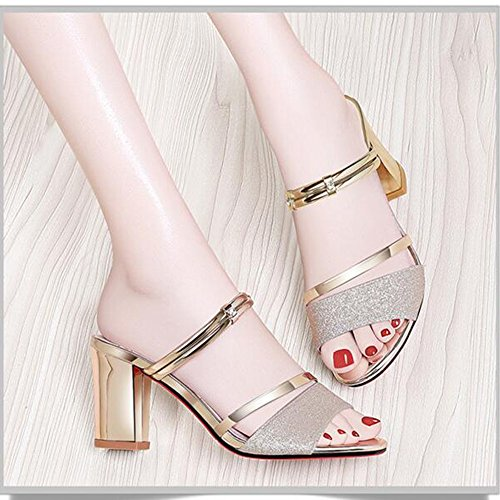 Slippers For Women Sandals Heels CN38 UK5 Size for EU38 Women Casual Fashion Chunky Heel Evening High 5 Shoes HAIZHEN Gold shoes Color Gold Wedding PrSAPF