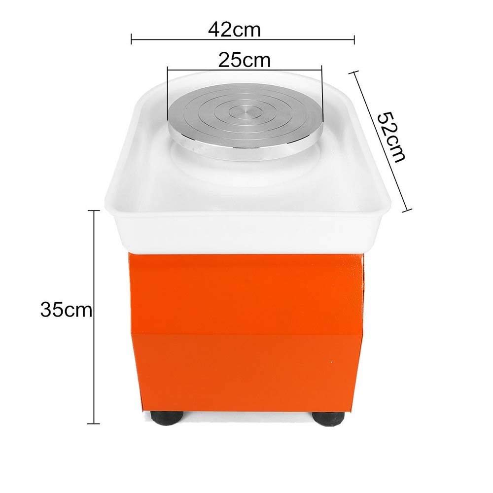 MOPHOTO Pottery Wheel 9.8Inch/25CM Pottery Forming Machine 350W Electric Pottery Wheels DIY Clay Tool with Tray for Ceramic Work Ceramics Clay (Orange) by MOPHOTO (Image #5)