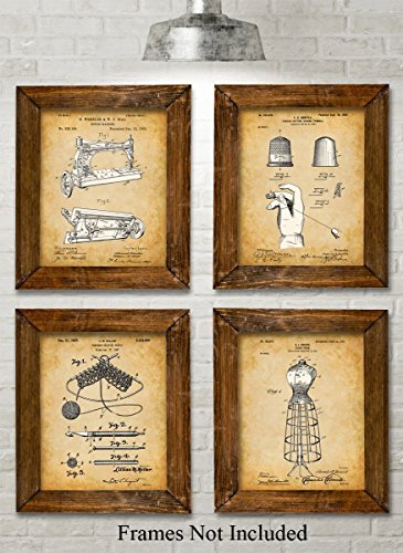 Original Sewing Patent Art Prints - Set of Four Photos (8x10) Unframed - Great Gift for Sewers, Fashion Designers or Seamstresses - Singer Old Sewing Machine