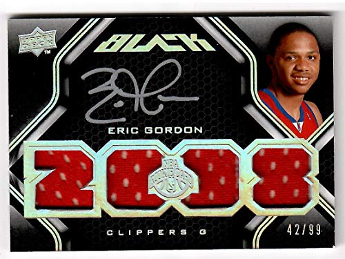 - 2008-09 Upper Deck Black Basketball Eric Gordon Quad Jersey Rookie Card # 42/99