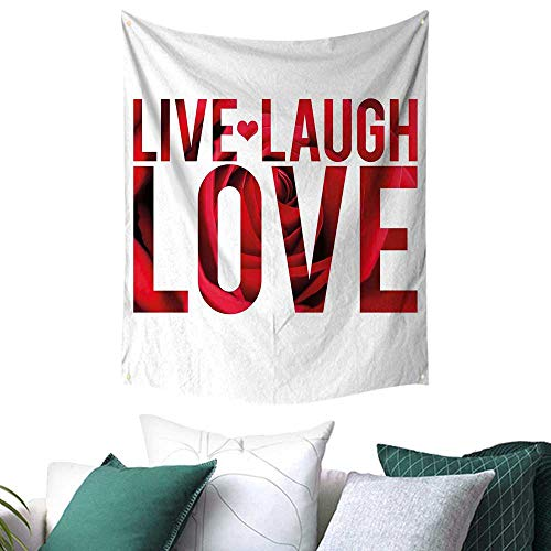Tulip Montage Wall Tapestry - Anshesix Live Laugh Love Decor Tapestry for Bedroom Typographic Montage Words with Macro Rose Petals Texture Print College/Dorm Decoration 70W x 84L INCH Red White Black