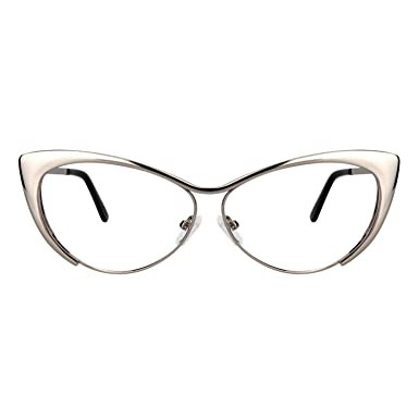 4d6230c2ee0a7 Zeelool Unisex Oversized Stylish Metal Browline Cat Eye Glasses Ellen  VFM0176-01 Sliver