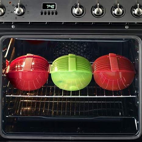 Lékué Ogya - Estuche Hondo para el microondas, Capacidad de 500 ml, para 1-2 Personas, Color Rojo