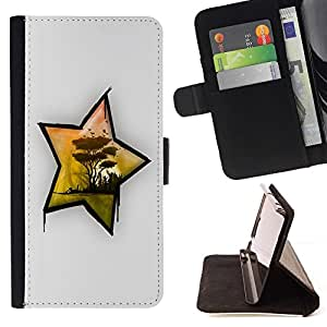 DEVIL CASE - FOR HTC One M7 - Africa Star - Style PU Leather Case Wallet Flip Stand Flap Closure Cover