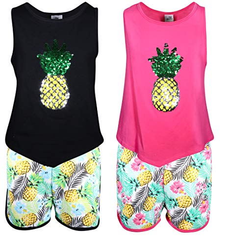 My Destiny Girls' 4-Piece Short Set with Sequin Tops, Pineapple, Size 5/6'