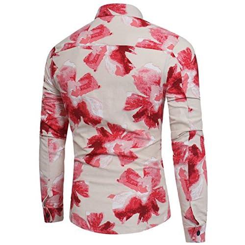 Glestore Manche Chemise Casual Hawaïenne Longue Imprimé Homme Floral VpMzUSq