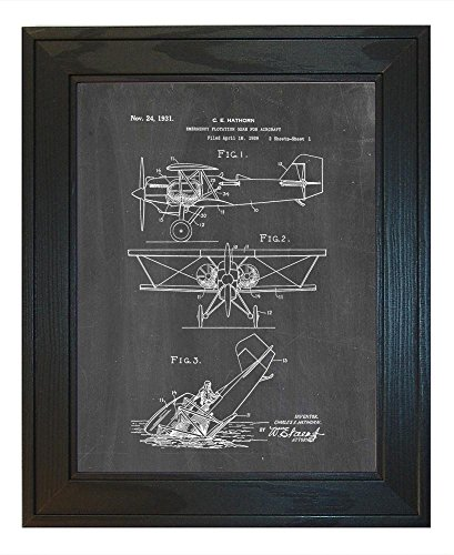 emergency-flotation-gear-for-aircraft-patent-art-chalkboard-print-in-a-solid-pine-wood-frame-18-x-24
