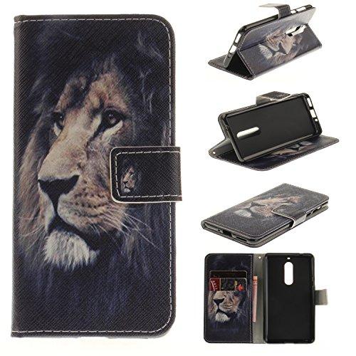 Nokia 5 Hülle, Nokia 5 Lederhülle, Nokia 5 Schutzhülle,Nokia 5 Handyhülle,Cozy Hut Nokia 5 Hülle Muster, Handy Case Cover Tasche for Nokia 5, Bunte Retro Muster Druck Flip Cover PU Leder Tasche Case S Der König der Löwen