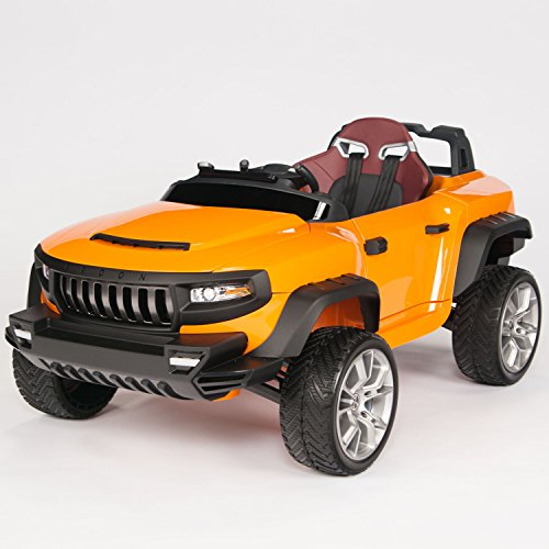amazoncom battery operated henes broon t870 kids ride on car 24v power with rubber wheels remote control orange toys games