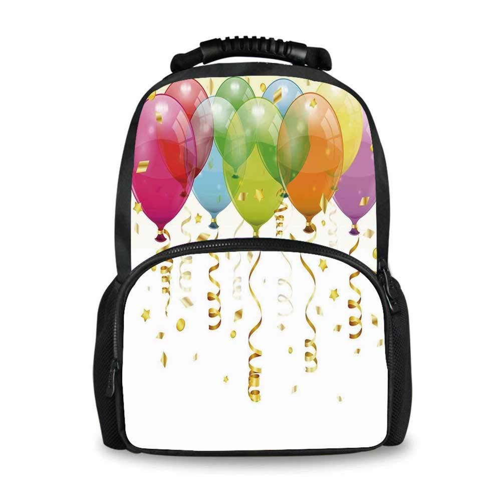 Birthday Decorations Adorable School Bag,3D Style Flying Balloons Curled Ribbons Confetti Rain Entertainment for Boys,12''L x 7''W x 17''H