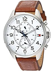 Tommy Hilfiger Mens Quartz Stainless Steel and Leather Watch, Color:Brown (Model: 1791274)
