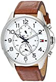 Tommy Hilfiger Men's Quartz Stainless Steel and Leather Automatic Watch, Color: Brown (Model: 1791274)