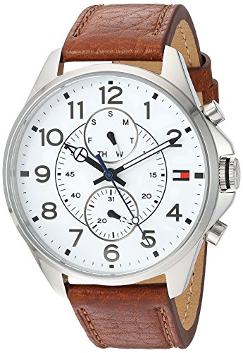 Tommy-Hilfiger-Mens-Quartz-Stainless-Steel-and-Leather-Automatic-Watch-ColorBrown-Model-1791274