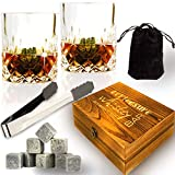 Whiskey Stones Gift Set - Whiskey Rocks Set - 8 Soapstone Chilling Rocks - Whiskey Stones Glasses Set - 2 Large Whiskey Scotch Bourbon Glasses in Wooden Case - gifts for Whiskey Lovers