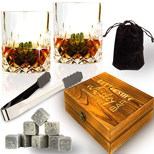 (Whiskey Stones Gift Set - Whiskey Rocks Set - 8 Soapstone Chilling Rocks - Whiskey Stones Glasses Set - 2 Large Whiskey Scotch Bourbon Glasses in Wooden Case - gifts for Whiskey Lovers)