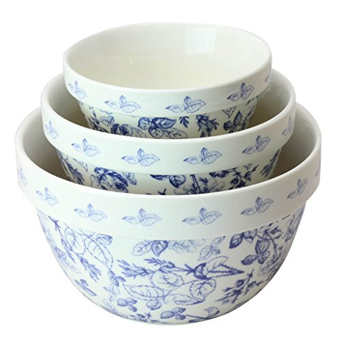 (Pantry Size 3-Pc Nested Porcelain Mixing Bowl Set by Grace Teaware. Microwave Safe, Freezer Safe. 3-Sizes 42, 22 and 10-Ounce. (Blue Rose Floral))