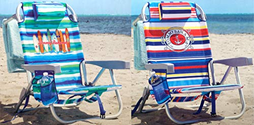 Tommy Bahama Backpack Chair - Insulated Cooler Pouch - 5 Positions (Ocean Stripes + Tropical Stripes) (Insulated Cooler Chair)