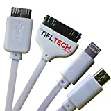 TiflTech Premium USB Cable Multifunctional 4 in 1 Universal Charger 3.3ft (1m) For iPhone 6 5 4, iPad ,Samsung Galaxy, Note 3 and most Android Smartphones , with Mini Stylus
