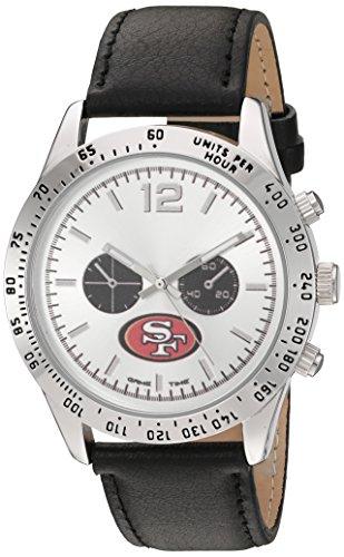 Game Time Men's 'Letterman'  Metal and Leather Quartz Analog Watch, Color:Black (Model: NFL-LET-SF)