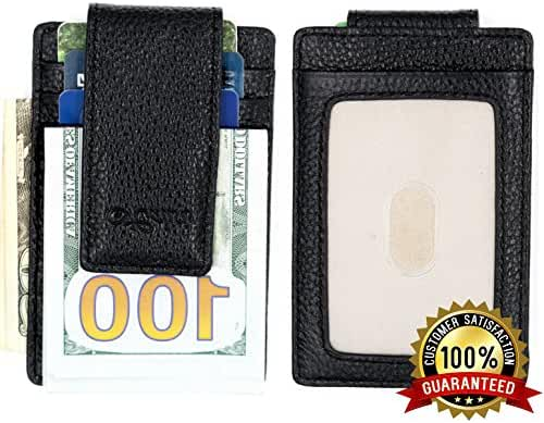 Money Clip - Front Pocket Wallet - Money Clip Wallet - Premium Leather Classic Designer - Wallets For Men - Money Clips with Powerful Four Magnets
