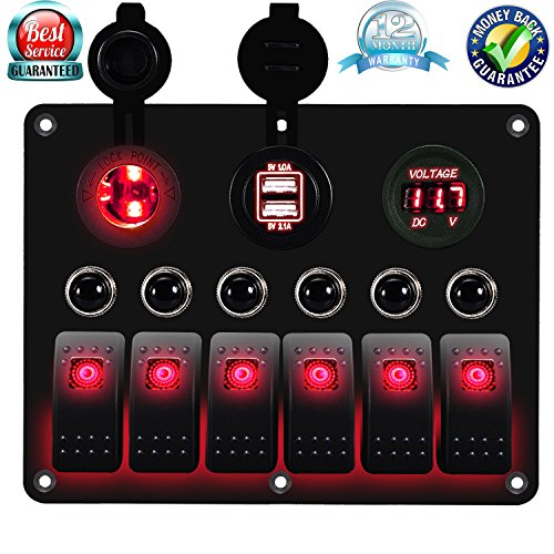 (DCFlat Overload Protection 6 Gang Waterproof Car Marine Boat Circuit LED On/Off Rocker Switch Panel Digital Voltmeter + 12V Cigarette Socket + Double USB Power Charger Adapter (Red))
