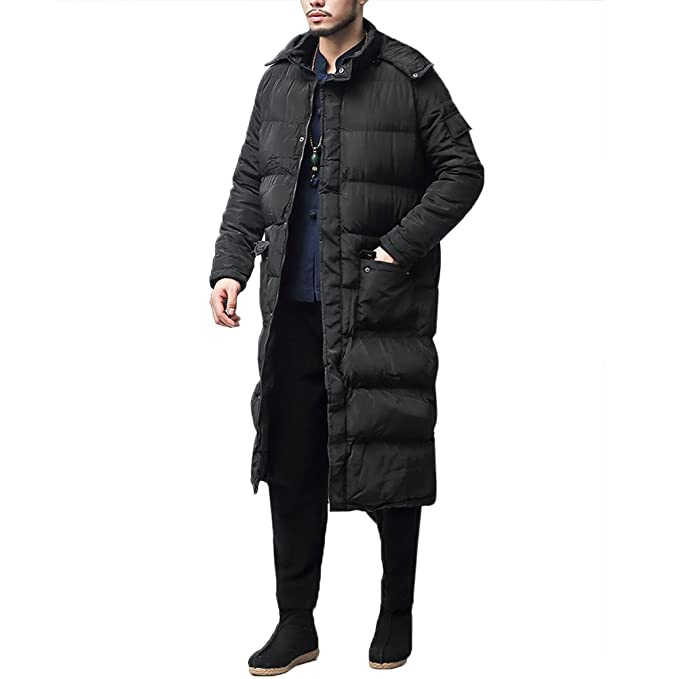91efa9aa2 YOUTHUP Mens Knee-Length Parka Quilted Winter Coat with Hood: Amazon.co.uk:  Clothing