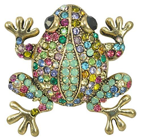 (Gyn&Joy Czech Crystal Rhinestone Synthetic Opal Multi Color Frog Fashion Jewelry Pendant Pin Brooch (Multi Color))