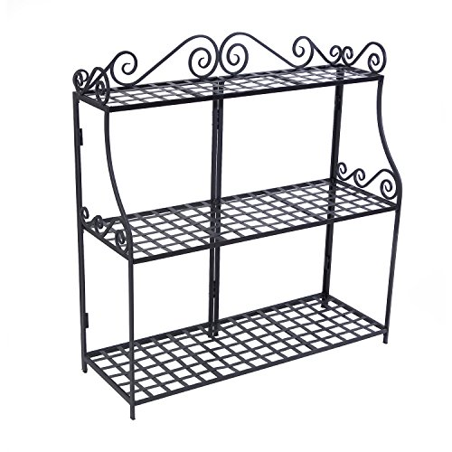 Panacea Products Forged 3-Tier Plant Stand, - Iron Wrought Rack Plant