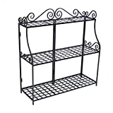 Outdoor Plant Stands Panacea Products Forged 3-Tier Plant Stand, Black