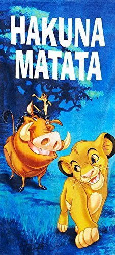 Lion King Hakuna Matata Beach Towel measures 28 x 58 inches by Jay Franco