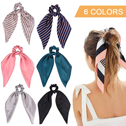 (6Pcs Hair Scrunchies Satin Silk Elastic Hair Bands Hair Scarf Ponytail Holder Scrunchy Ties Vintage Accessories for Women Girls)