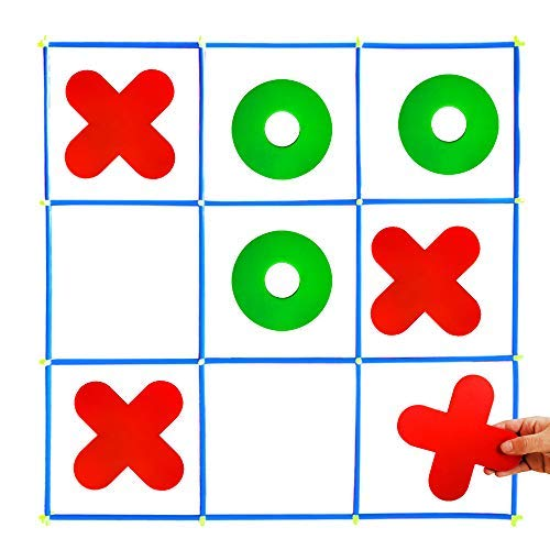 Giant Tic Tac Toe Game, Large Indoor Outdoor Toss Activity, Family Yard Games for Adults and Kids, Noughts and Crosses Brain Teaser Puzzle