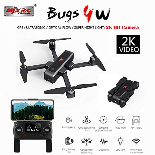 Teeggi MJX Bugs 4w Drone B4W 5G WiFi FPV RC Quadcopter GPS Foldable Drone with 1080P Camera Record Video App Control One-Key RTH Follow Me 3D Visual Brushless Motor Track Flight Headless Function
