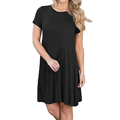 Romacci Womens Short Sleeve T-Shirt Dress Cotton Loose Casual Tunic Dress ...