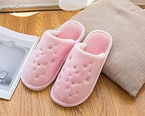 Chaussures de Chambre Femmes de Pantoufles Hiver Coucher Anti Pantoufles Slippers Intérieur Clair Snone Slip Rose de de à Automne Suède Daim épaissie Hommes extérieur de Broderie Accueil RqwHv