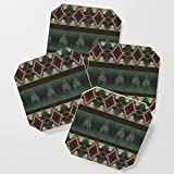 Society6 Drink Coasters, southwest stripe with horses by designlunatic, set of 4