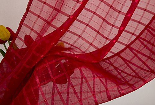 Grommet Curtain Panel Pair RT Designers Collection Wanda Box Voile 76 x 84 in Set of 2 , Red