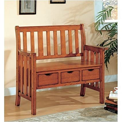 Surprising Amazon Com Mission Oak Bench With Drawers Kitchen Dining Onthecornerstone Fun Painted Chair Ideas Images Onthecornerstoneorg