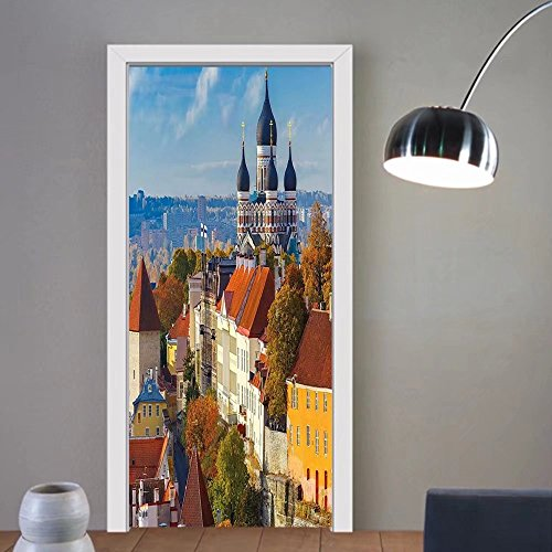 Gzhihine custom made 3d door stickers Modern Toompea Hill with Historical Tower Russian Cathedral Old City Culture Landmark Image Multicolor For Room Decor - Ca Chino Hills City Of