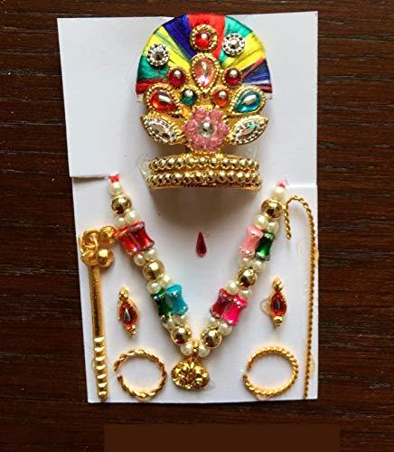 Lord Krishna Bal Gopal Mukut Crown Neclace Bangles Flute Earing Set Kishan Mohan ()