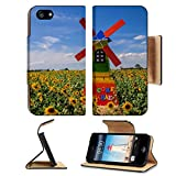 Luxlady Premium Apple iPhone 5 iphone 5S Flip Pu Leather Wallet Case iPhone5 IMAGE ID: 34368946 wind turbine Sunflower Farm