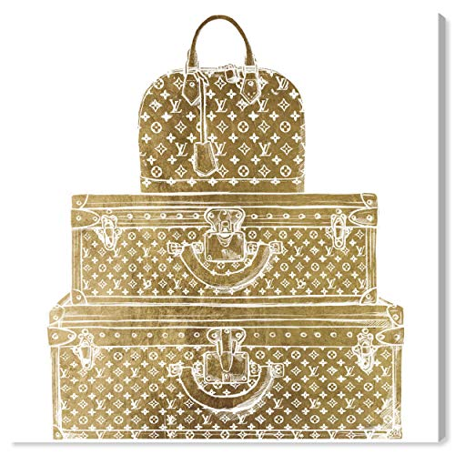 The Oliver Gal Artist Co. Fashion and Glam Wall Art Canvas Prints 'Royal Bag and Luggage Gold Diecut' Home Décor, 24