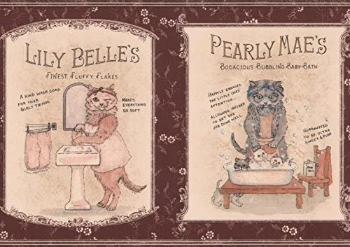 """ヴィンテージバスソープ広告鉄と子猫マルーン壁紙ボーダーキッチンバスルームロール15 'x 7 """""""