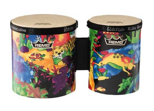 "B00000IS0P Remo KD-5400-01 Kids Percussion Bongo Drum - Fabric Rain Forest, 5""-6"" 51gWE2BfhPlL"
