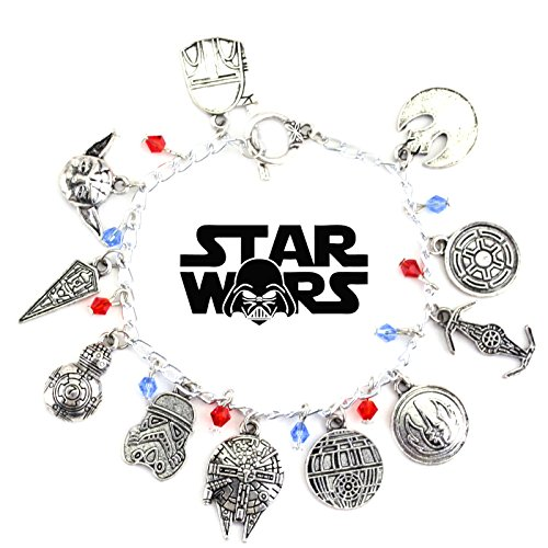 Star Wars Movie Inspired Collection 11 Charms Toggle Clasp Jewelry Bracelet in Gift Box by (Inspired Toggle Bracelet)