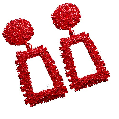 WXART Big Vintage Earrings for Women Gold Silver Black Geometric Statement Earring Metal Earring Hanging Fashion Jewelry (Red)