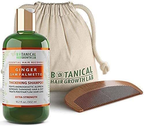 Botanical Hair Growth Lab Anti Hair Loss Shampoo Ginger - Saw Palmetto Organic Thickening Shampoo For Hair Thinning Prevention Alopecia Postpartum DHT Blocking 10.2 Fl Oz