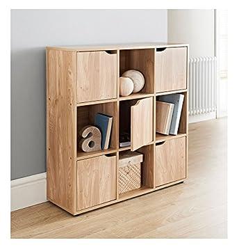 Eshop4u Mdf Oak Finish 9 Cube Shelf Books Cds Dvds Storage Unit 5