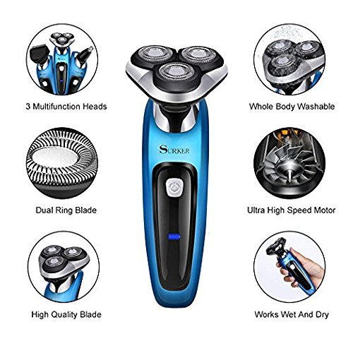 SURKER Electric Shaver Rotary Shaver Wet and Dry 3 in 1 With Nose Trimmer and Sidebums Razor Waterproof Black Blue